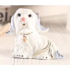 Декоративная фарфоровая статуэтка Сидящая собачка