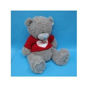 Медведь с заплатками серый в свитере