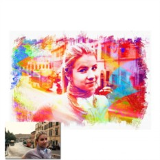 Портрет по фото в стилизации под граж