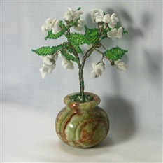 Дерево счастья из кахолонга в вазочке из оникса