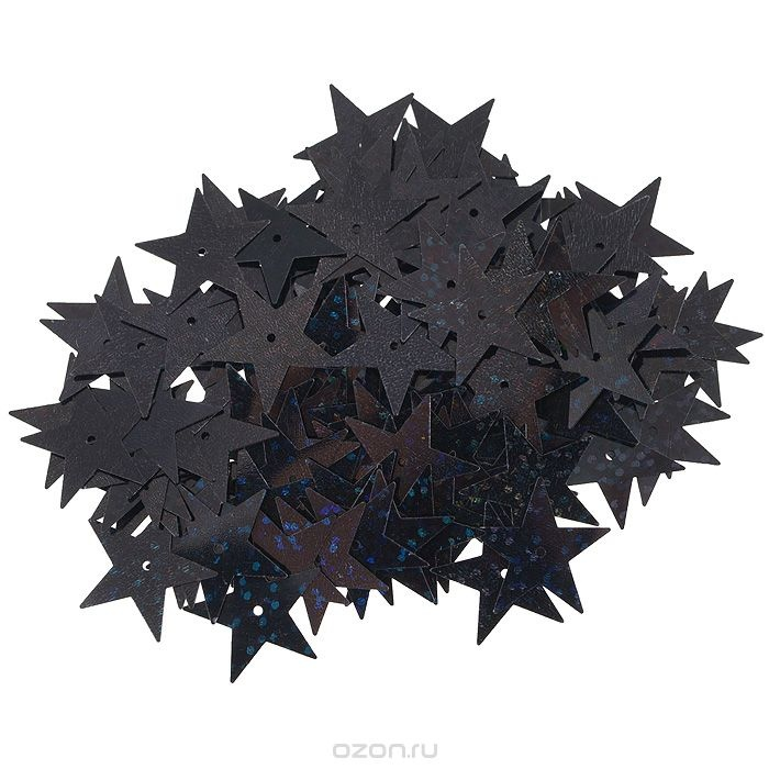 Пайетки Астра (звездочки), с голограммой, черные (А50)