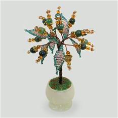 Миниатюрное дерево любви из яшмы в вазочке из оникса
