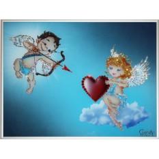 Картина с кристаллами Swarovski Влюбленные ангелочки