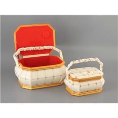 Набор шкатулок для рукоделия из 2 шт, бело-красные