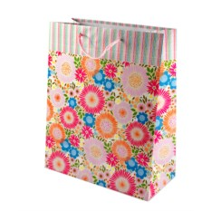 Бумажный ламинированный пакет (цвет — розово-голубой)
