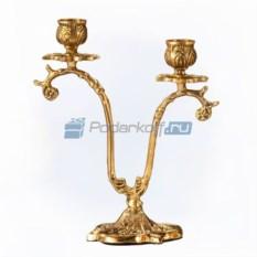 Пара канделябров из бронзы на 2 свечи Кувшинки