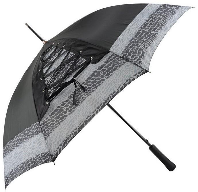 Черный зонт-трость со шнуровкой Канкан
