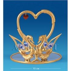 Фигурка с кристаллами Swarovski Сердце с лебедями