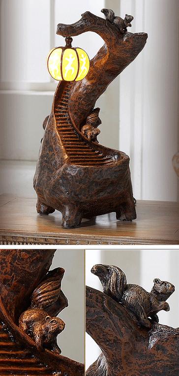 Декоративный комнатный фонтан «Черепаха на дереве»