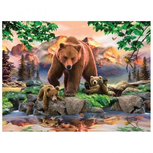 Картина-раскраска по номерам на холсте Медведи