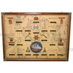 Панно Морские узлы: старинная карта (58x43 см)