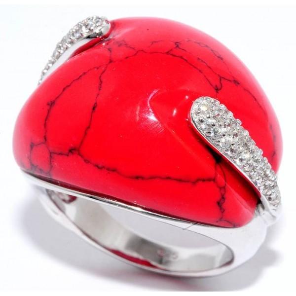 Кольцо серебряное с кораллом и цирконием