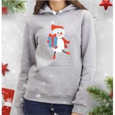 Женская толстовка Снеговик с подарком