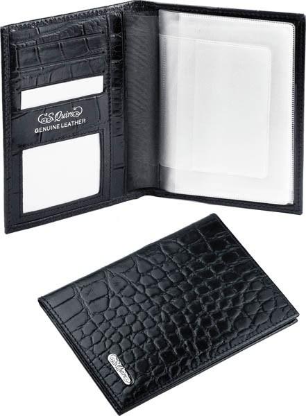Кожаный бумажник для водителя S.QUIRE (черная матовая кожа)
