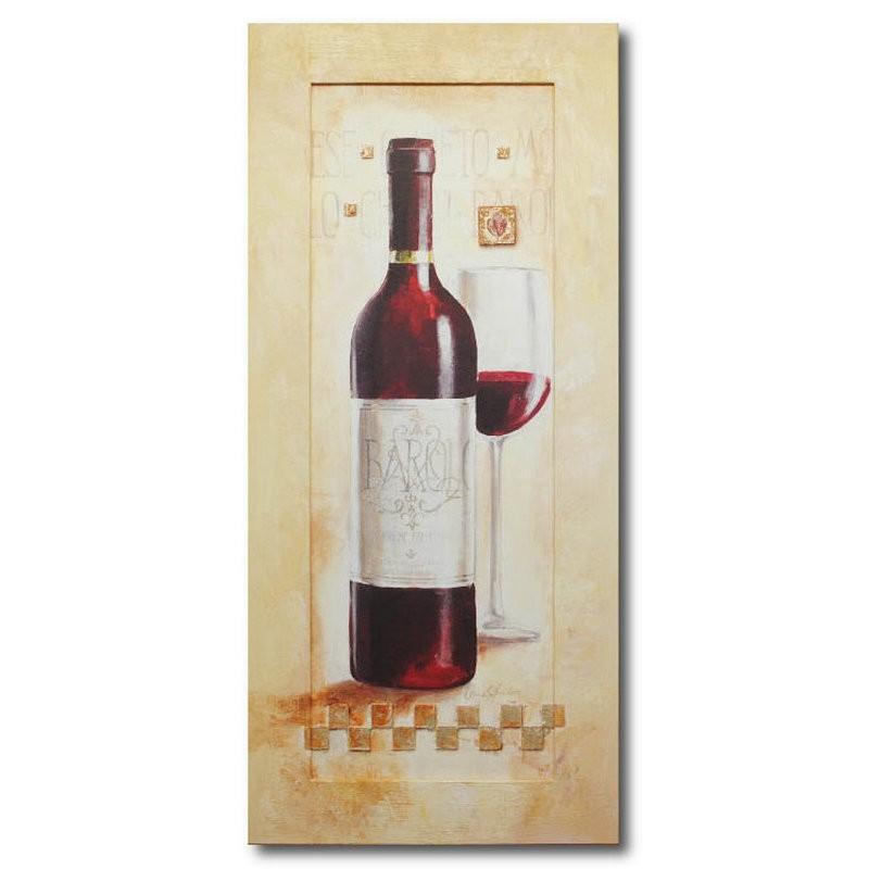 Репродукция на раме Кухня, бутылка и бокал с вином