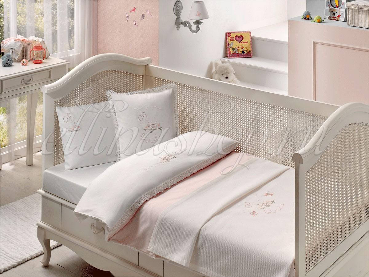 Розовый комплект белья в кроватку из сатина (Tivolyo)