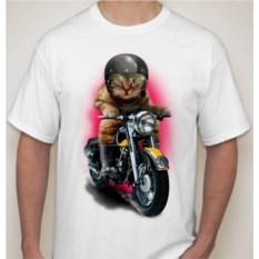 Мужская футболка Кот на мотоцикле