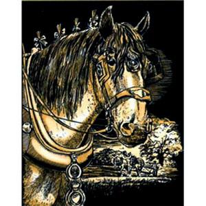 Гравюра золотая «Лошадь»