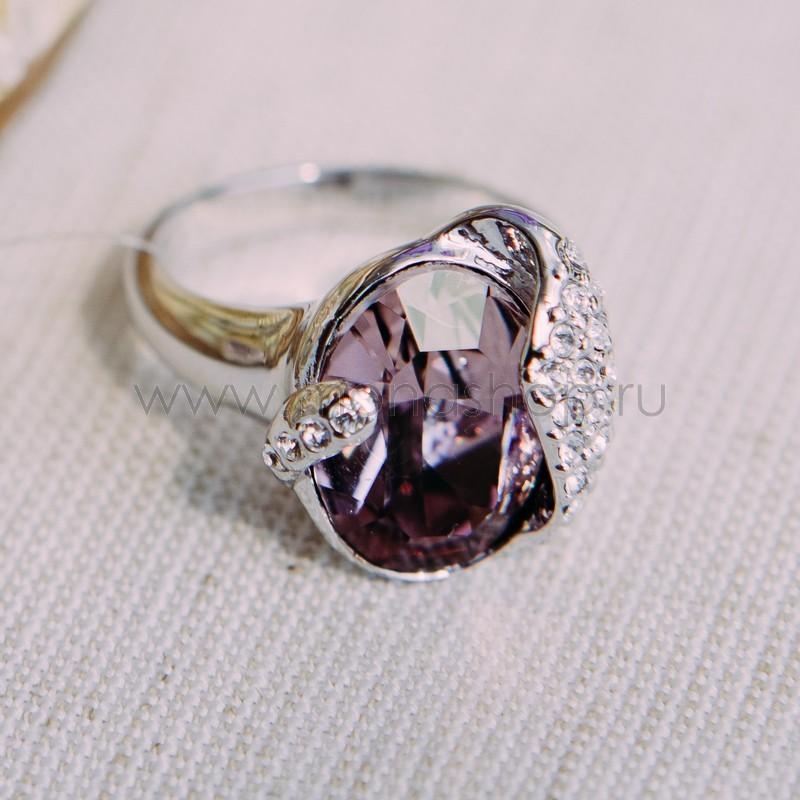 Кольцо с кристаллом Сваровски цвета бордо «Бутон»