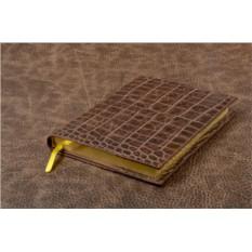 Темно-коричневый ежедневник из кожи крокодила