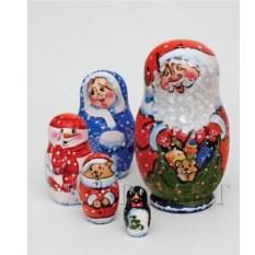 Матрешка состоящая из пяти фигурок Семейка Деда Мороза