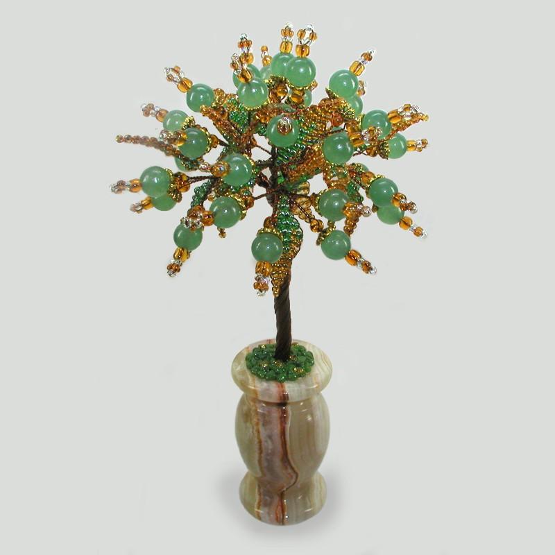 Дерево пожеланий из нефрита в вазочке из оникса