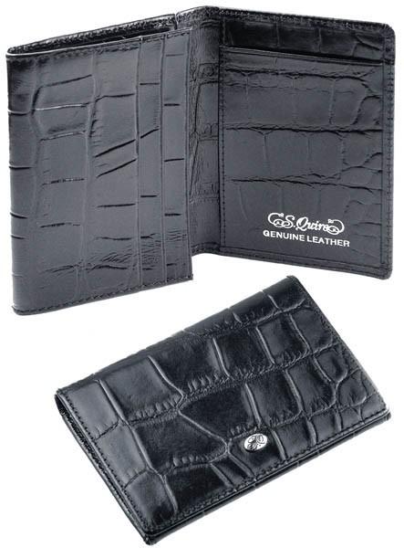 Чехол для кредитных карт S.QUIRE QK25 matt croco, черный