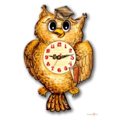 Часы настенные с маятником Сова
