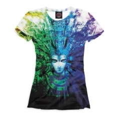 Сине-зеленая женская футболка Эзотерика
