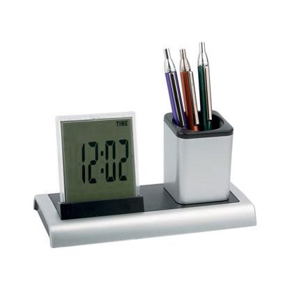 Подставка под ручки с часами и термометром