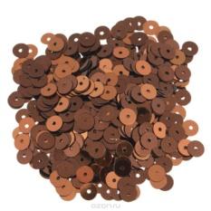 Плоские пайетки Астра, коричневые, 6 мм