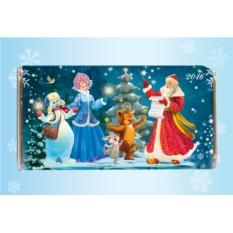 Именная шоколадная открытка «Дедушка Мороз-дирижер»