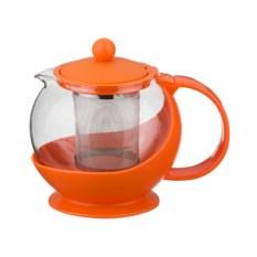 Оранжевый заварочный чайник с фильтром, объем 750 мл