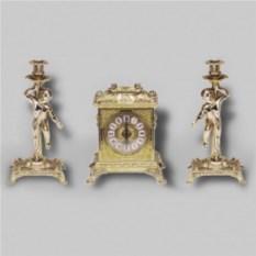 Каминные бронзовые антикварные часы и 2 канделябра