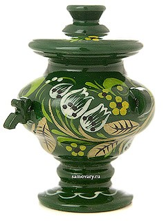 Самовар сувенирный Хохлома на зеленом фоне