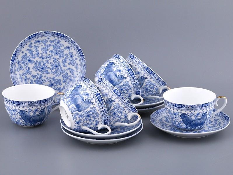 Чайный набор 12 предметов на 6 персон Блю ду мейн