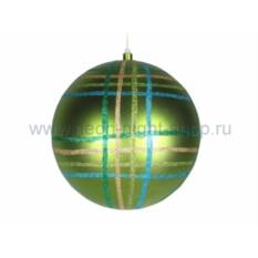 Елочная игрушка Шарв клетку зеленого цвета