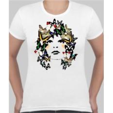 Женская футболка Девушка в бабочках