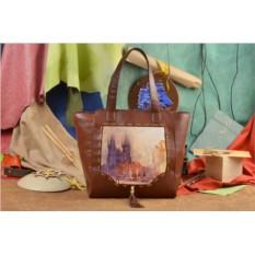 Коричневая сумка-шопер Сумеречный пейзаж Elole Design