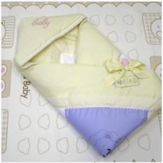 Желтое зимнее одеяло-конверт из сатина с вышивкой