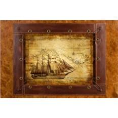 Картина из кожи Винтажный корабль