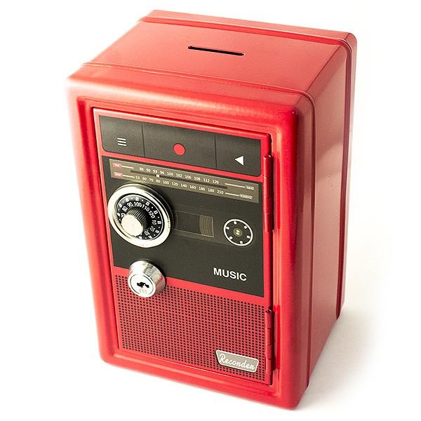 Красная копилка-сейф с ключом Радиоретро