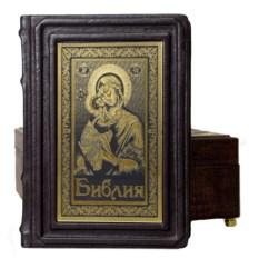 Подарочная Библия в коробе из натуральной кожи