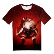 Мужская футболка Дед Мороз рокер