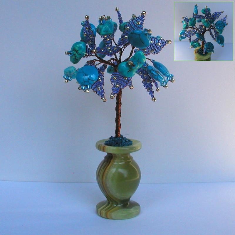 Дерево желаний из бирюзы в вазочке из оникса