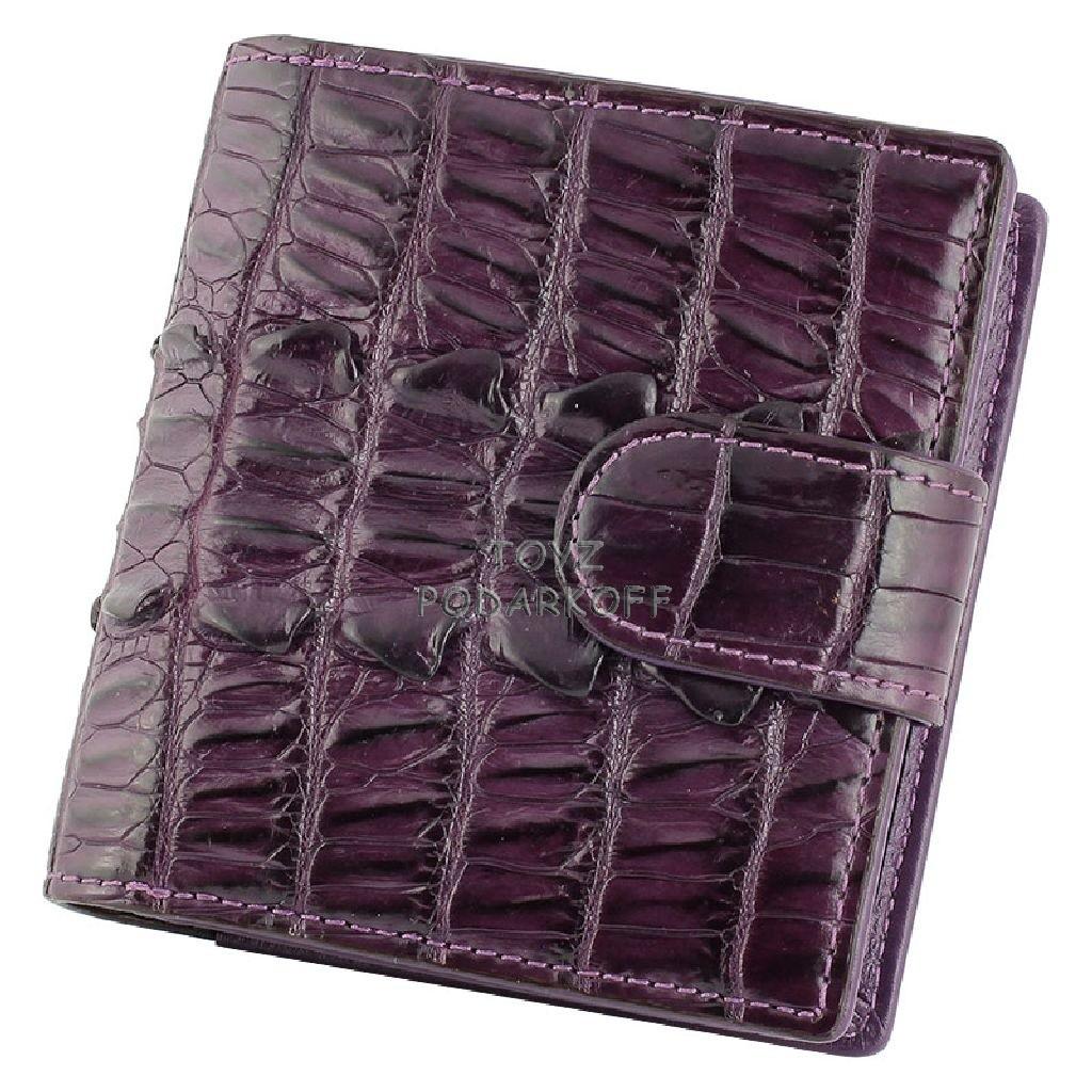 Фиолетовый женский кошелек из кожи крокодила