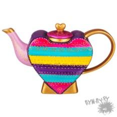 Чайник с ручной росписью Сердце-радуга 850 мл