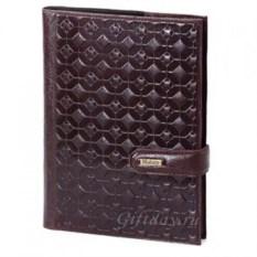 Темно-коричневый кожаный ежедневник с тиснением