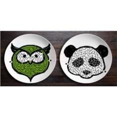 Тарелки ЗооЛаб с рисунком совы и панды