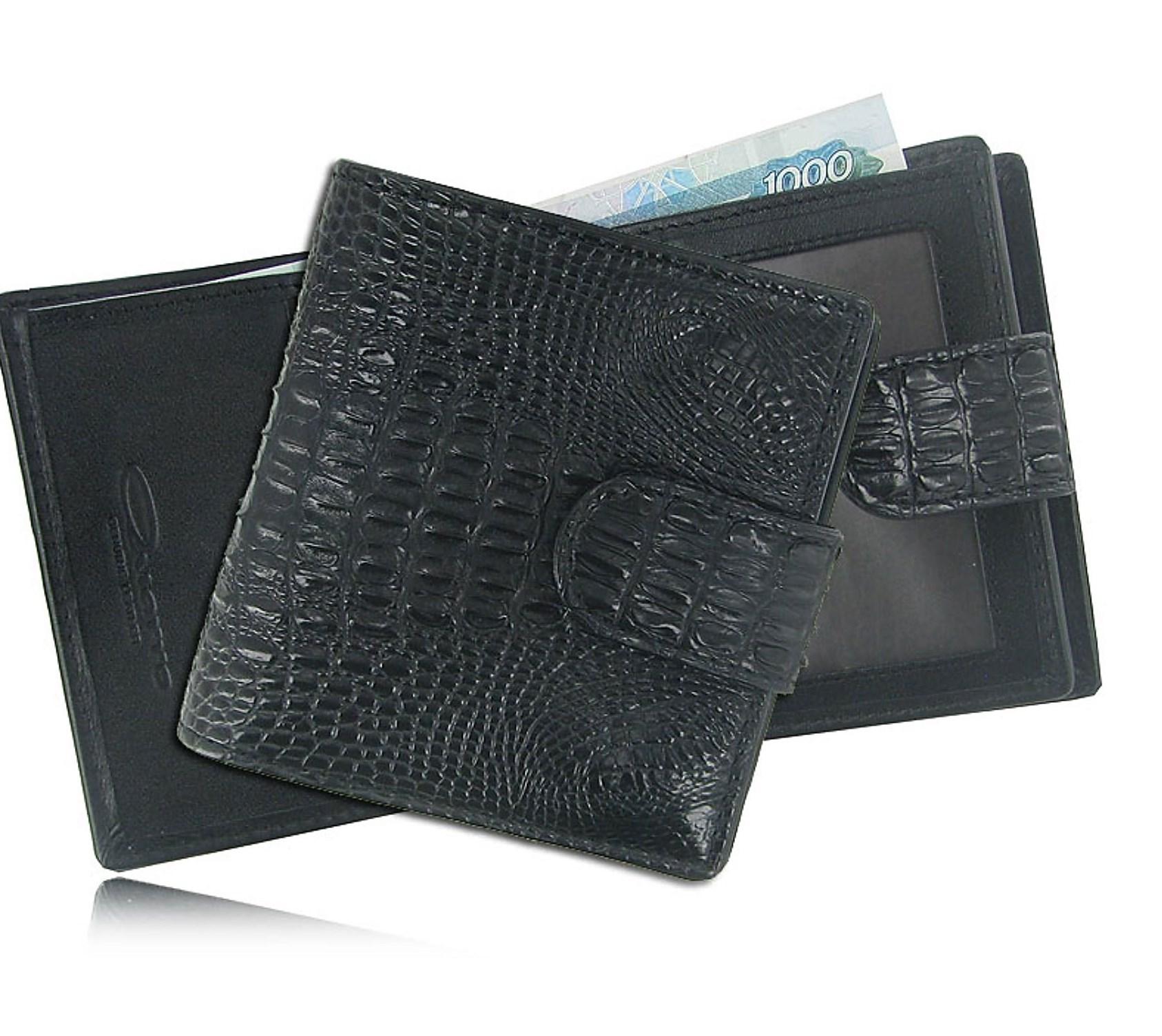 Женский кожаный кошелек из кожи крокодила (цвет - черный)